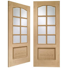 internal oak unfinished park lane 16l pair door with clear bevelled glass gopparrm