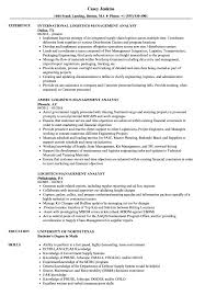 Logistics Management Resume Logistics Management Analyst Resume Samples Velvet Jobs