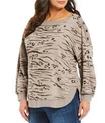 Democracy Plus Size Animal Print Button Shoulder Detail Curved Hem Sweatshirt