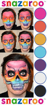 rainbow skull face paint design snazaroo facepaint howto stepguide