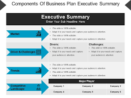 Execuative Summary Components Of Business Plan Executive Summary Powerpoint