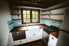 tiny house sink. Tiny House Dishwasher The Mayflower Farmhouse Sink Butcher Block Counters Custom Welded Open Shelving Furnishings