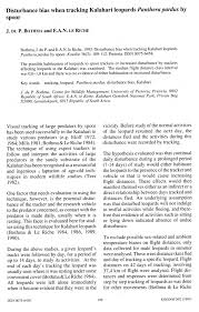 pdf disturbance bias when tracking kalahari leopards panthera pardus by spoor