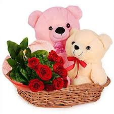 teddy with roses in basket