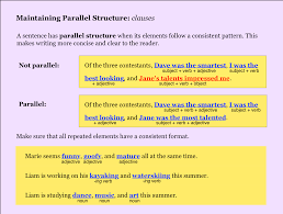 parallel structure noredink teacher high school english teaching