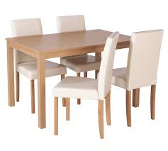 home elmdon oak effect dining table 4 chairs cream at argos co