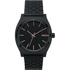 a045 957 nixon mens time teller all black rose gold tapered nixon a045 957 mens time teller all black rose gold tapered strap watch