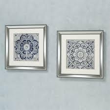 medallion framed wall art blue set of two on set of two framed wall art with medallion framed wall art set
