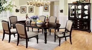 com 7 pc harrington dark walnut finish wood elegant formal style dining table set with turned legs home kitchen