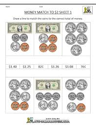 2nd Grade Money Worksheets up to $2Money Match to $2 Sheet 1 ...