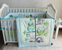Happy Owls and Friends Three Animals Embroidered Baby Cot Crib ... & Happy Owls and Friends Three Animals Embroidered Baby Cot Crib Bedding Set  7pcs 4 items includes Quilt Bumper Sheet Skirt for boy bed kit Adamdwight.com
