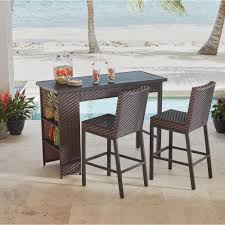 outdoor bar table and chairs. Hampton Bay Rehoboth 3-Piece Wicker Outdoor Bar Height Dining Set Table And Chairs E