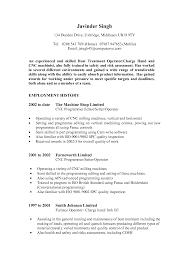 Resume Template Cnc Machine Operator Resume Sample Free Career