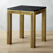 Perforated Black Marble Side Table | CB2