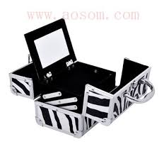 zebra print makeup box case in leopard print mirrored makeup artist quilted zebra print