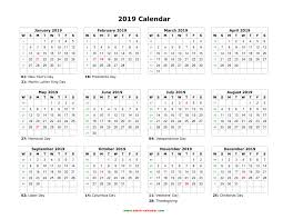 2019 Calendar Horizontal Download Blank Calendar 2019 With Us Holidays 12 Months On One Page