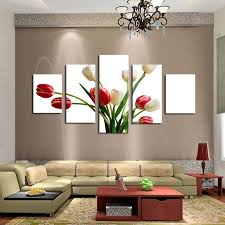 >5 pieces frameless canvas photo prints red and white tulips wall art  5 pieces frameless canvas photo prints red and white tulips wall art picture canvas paintings home decor wall artwork paintings in painting calligraphy