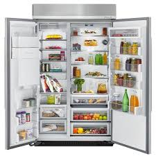kitchenaid kbsd608ess 48 in w 29 5 cu ft built in side by side refrigerator in stainless steel