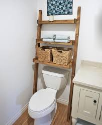 over the toilet storage leaning bathroom ladder