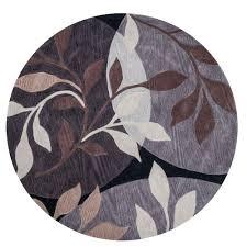 kas rugs modern leaf plum black 6 ft x 6 ft round area