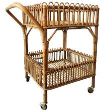 bamboo bar cart. Vintage Bamboo Bar Cart With Bottle Holders And Brass Wheels For Sale