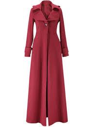 women s solid long sleeve floor length trench coat azbro com loading zoom