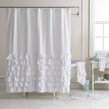 fabric shower curtains white