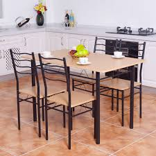 Costway Costway 5 Piece Dining Table Set With 4 Chairs Wood Metal