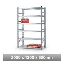 6 tier heavy duty metal shelving rack 2000mm x 1200mm x 500mm