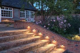 garden lighting design ideas. Recessed Eyelid Lights Over Brick Steps Designed By Chameleon Design; Formal Rill With Lighting In Traditional Garden Design Ideas