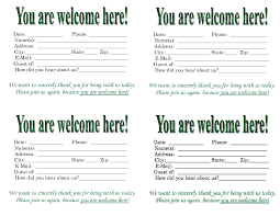 Solutions - Church 4 Portablegasgrillweber Of Collection Visitor Guest Word Card com Template