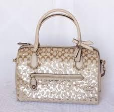 COACH Poppy Sequin Signature C East West Satchel Handbag Purse 26438 MSRP   348