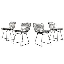 set of 8 harry bertoia wire chair side chair for knoll black metal for