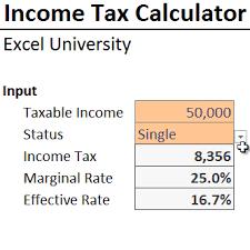 Income Tax Formula Excel University