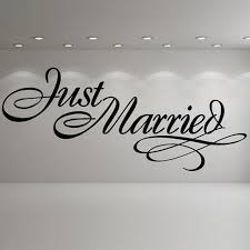 Just Married Quotes Just Married Elegant Sign Wedding Wall Stickers Occasion Decor Art 20