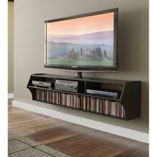 Long Narrow Espresso Floating Entertainment Shelves And Tv Stand ...