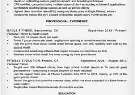 Sample Resume For Gym Instructor Best Fitness And Personal Trainer