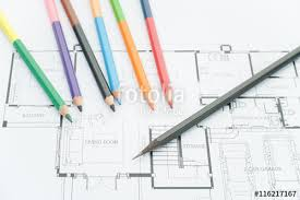 modern home architecture blueprints. Architects Workplace Architectural Blueprints Drawings Of The Modern House With Color Pencils Home Architecture T