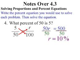 notes over 4 3 what percent of 50 is 5