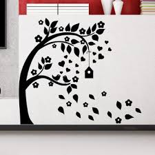 wall decal tree silhouette with branches birdcage bird art wall decals for kids playroom nursery bedroom