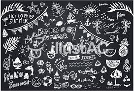 黒板アート 夏コレクション白1色verイラスト No 863518無料