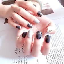 square short size fake nails fashion gray style color jump diy nail art matte scrub tips fake nails with glue love stripe naildesign acrylic nail designs