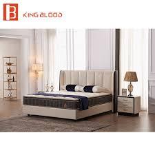 modern beige color top genuine leather ultra king size teak wood bed ...
