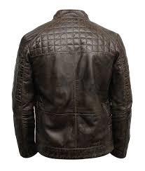 mens quilted desine brown café racer jacket