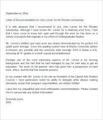 sample recommendation letter for student scholarship Printable Mitchell  Scholarship Recommendation Letter PDF jpg