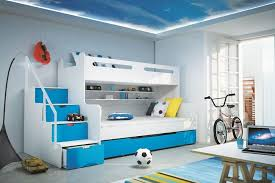 Brand New Kids Children Bunk Bed Bed Max 3 White/Blue with Mattresses  Storage