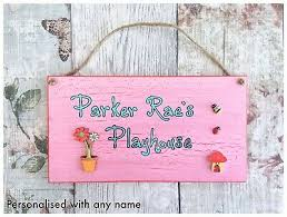 pink playhouse sign children s personalised name outdoor plaque flower pot