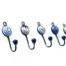 magnetic hooks cup hooks decorative hooks indigo blue decorative ceramic bohemian wall hooks hangers coat