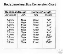 Conversion Chart For Body Jewelry In 2019 Body Jewelry