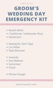 Checklist For Wedding Day Grooms Wedding Day Emergency Kit
